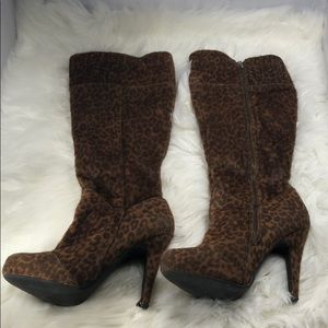 Leopard knee high boots